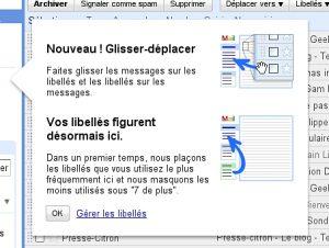 Gmail : Glisser-déposer vos messages dans vos libellés