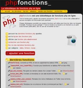 phpFonctions : la bibliothèque de fonctions php en ligne
