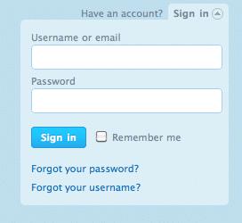 Bloc de login façon Twitter avec jQuery