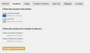 WP Maintenance : page des couleurs